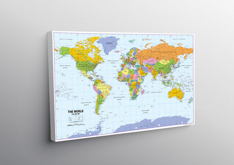 Large World Map on Mounted Canvas - 145 x 90cm – Tiger Moon