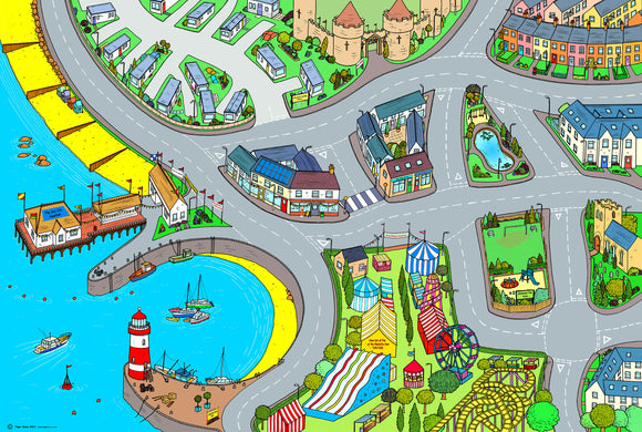 Welcome to the seaside! Children will delight in racing cars around this colourful seaside floor mat. From the beach to the funfair this floor mat will spark conversation and encourages children to recount past holiday experiences. Size - 240cm x 160cm  Printed onto heavy weight vinyl and easily rolled for storage.