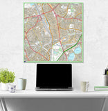 Postcode Centred Mounted Ordnance Survey Street Map - 1x1m Size - 3x3km Area