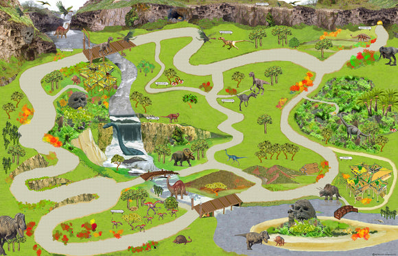 My Lost World is a land of the imagination with prehistoric creatures, water falls, caves, and wooden bridges over roaring rivers. Children love to explore and recreate prehistoric times with dinosaurs.  Size - 240cm x 160cm.  Printed onto heavy weight vinyl and easily rolled for storage.  Our Giant Play mats instantly create an new play environment for children!