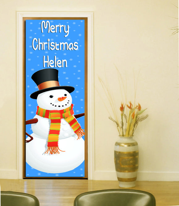 Merry Christmas Personalised Door Banner - Vinyl - 195cm x 55cm