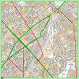 Postcode Centred Mounted Ordnance Survey Street Map - 1x1m Size - 2x2km Area