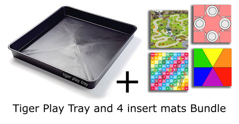 Tiger Play Tray and 4 Insert Mat Bundle - 59cm x 59cm