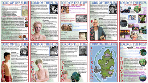 GCSE English - Lord of the Flies - Educational Posters - Set of 10 - Size A3