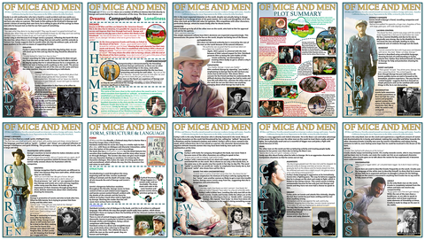 GCSE English - Mice and Men - Educational Posters - Set of 10 - Size A3