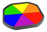 The rainbow wheel mat is ideal for use with a Tuff Tray. Use it at home or in an early years setting to introduce and discuss colour and matching small objects to the rainbow wheel. Ideal to gently develop fine motor skills and foster cooperative play. Designed to fit in the Tuff Tray or the Tuff Spot.