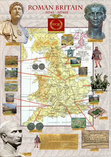 Roman Britain Map Poster Tiger Moon