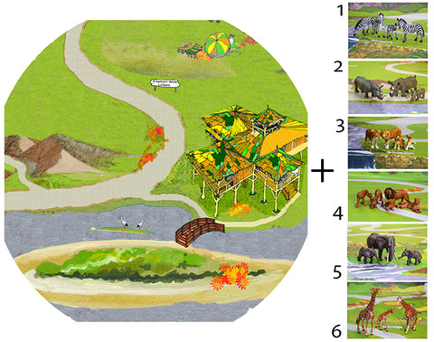 Safari Tuff Tray Vinyl Mat 2 with choice of plastic safari animals