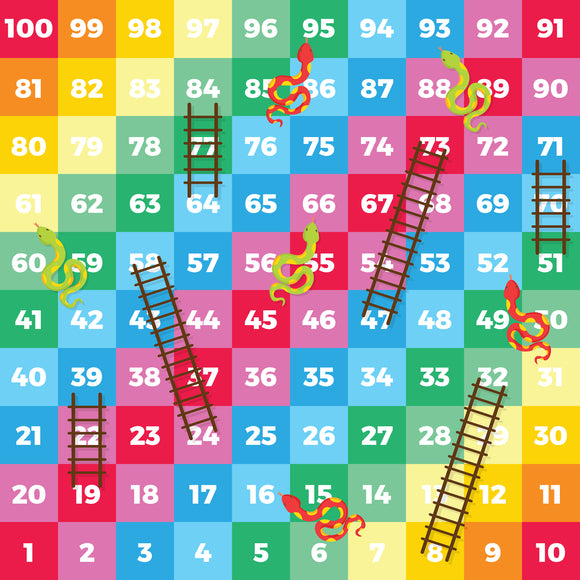 This is a snakes and ladders style children's game for the floor. The Snakes and Ladders game encourages numeracy, learning to count on and back, addition, subtraction, turn taking, losing - and winning! A fun activity for the whole family.