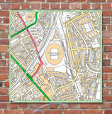 Postcode Centred Mounted Ordnance Survey Street Map - 1x1m Size - 1x1km Area