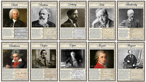 Set of 10 Music Composer Posters A3