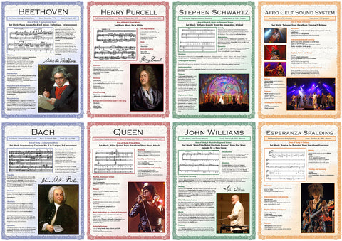 GCSE English posters to support the study and revision of edexel GCSE Music.  The A3 posters feature the following areas of study:      Beethoven     Bach     Purcell     Queen     Stephen Schwartz     John Williams     Afro Celt Sound System     Esperanza Spalding