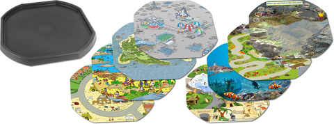 Tuff Tray Bundle - One Black Tray and Eight Mats (Space Station, Pirate Island, Pirate Scene, Building Site, Rock Pool, Lost World, Underwater Scene, Alphabet Zoo)