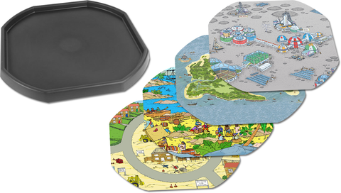 Tuff Tray Bundle - One Black Tuff Tray and Four Mats (Space Station, Pirate Island, Pirate Scene, Building Site) …