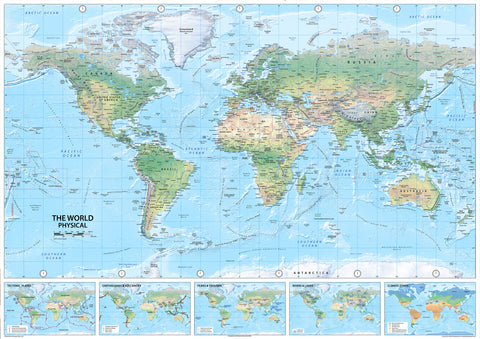 World Map - Physical - Paper Laminated - A0