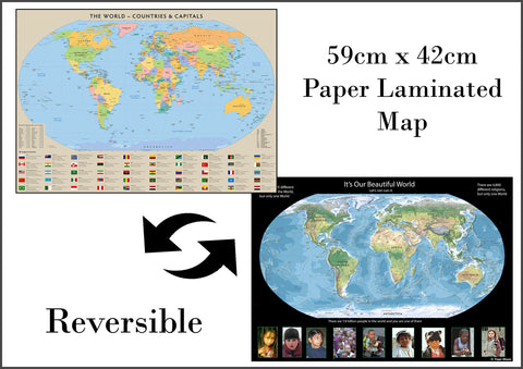 Children's World Double Sided Map A2-59cm x 42cm - Paper Laminated