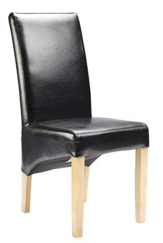 Uppingham Bonded Leather Chair - Black Antique Leg