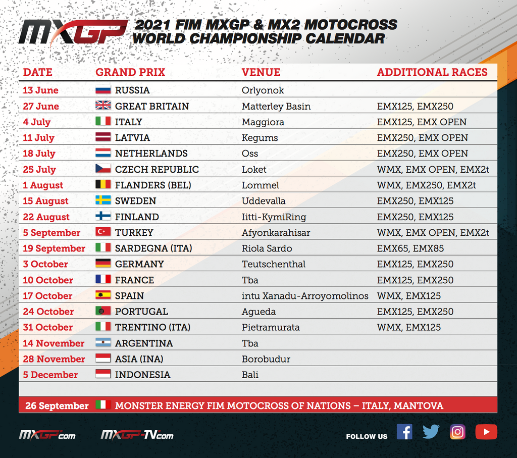 EMX250 Race Schedule 2021 (update)