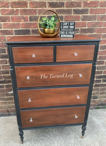 Wood & Black Chest of Drawers