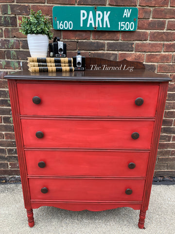 Hand-Painted Vintage Chest of Drawers