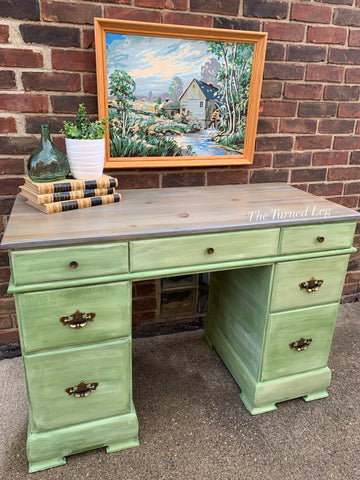 Hand-Painted Green Desk