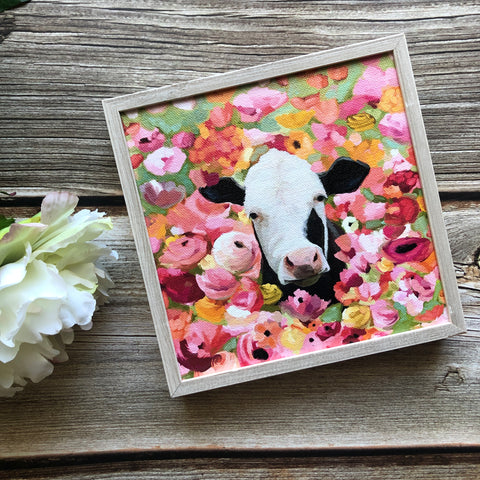 Wildflower Cow Mini Framed Art