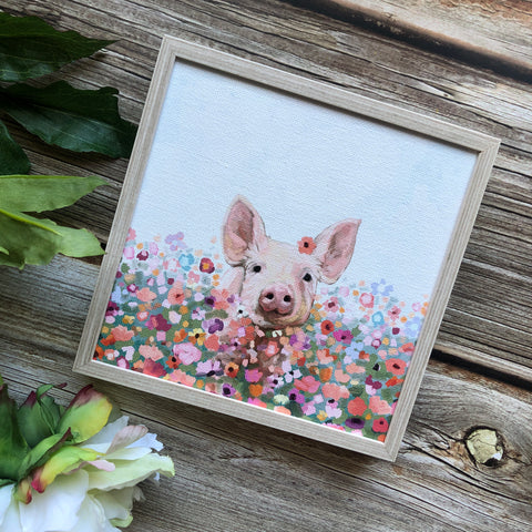 Wildflower Pig Mini Framed Art