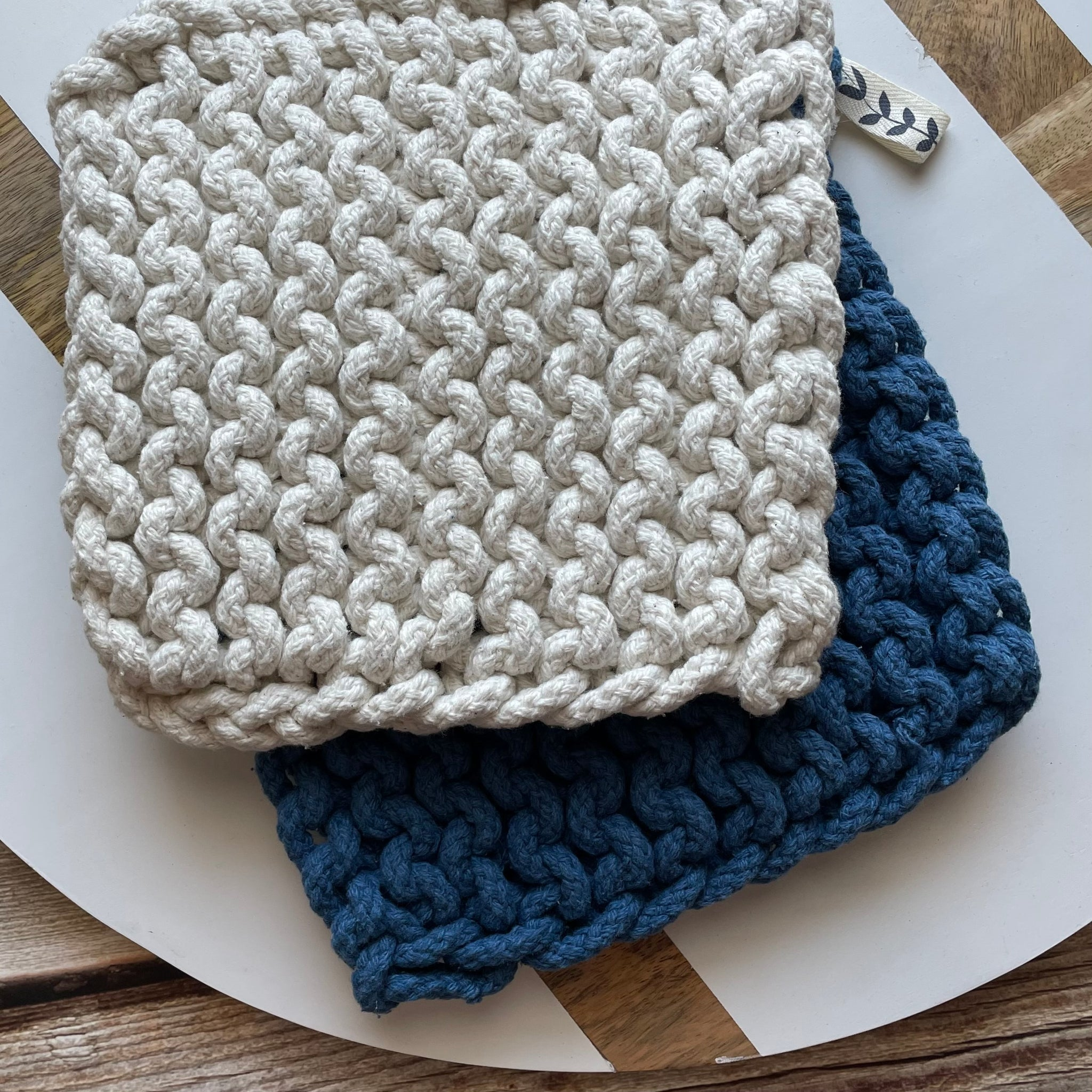 Blue & Cream Potholder Set