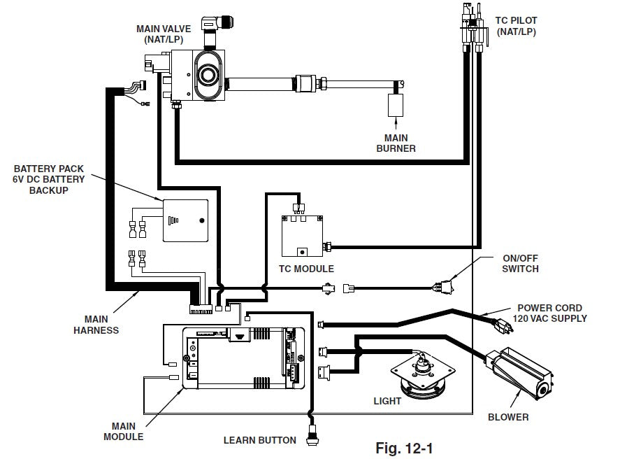 Real Fyre iSeries (IPI) Contemporary Direct Vent Insert Wiring Diagram
