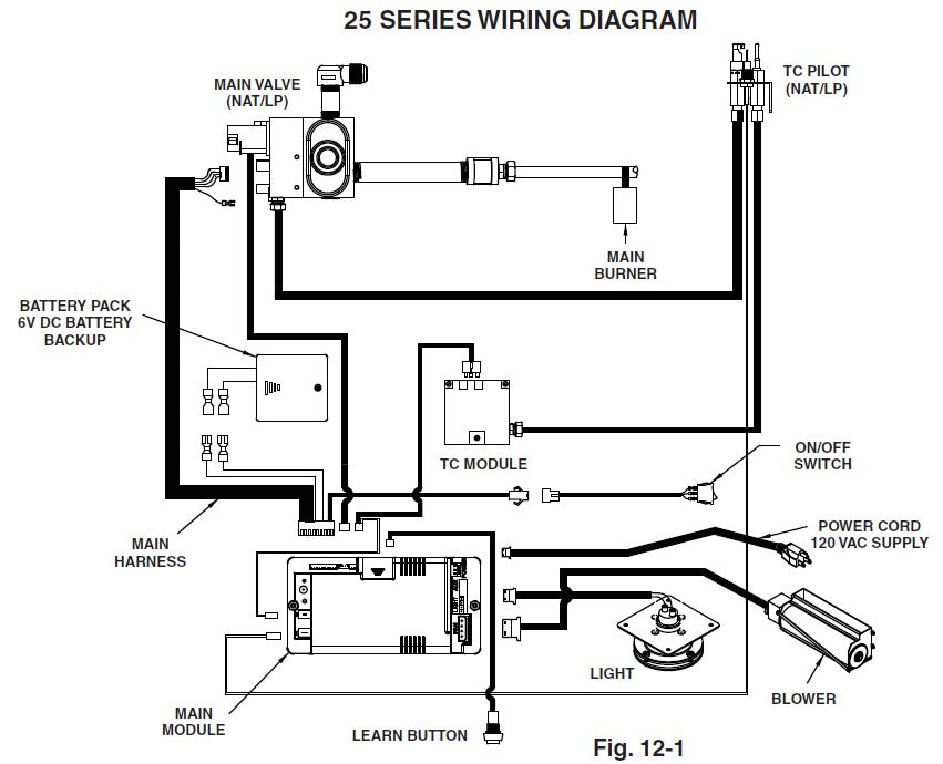 Real Fyre iSeries (IPI) Direct Vent Insert Wiring Diagram 25 Series