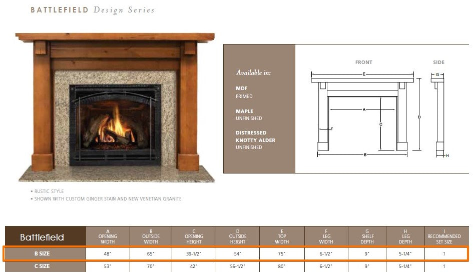 "Majestic Battlefield B 48"" Flush Wood Mantel Specs"