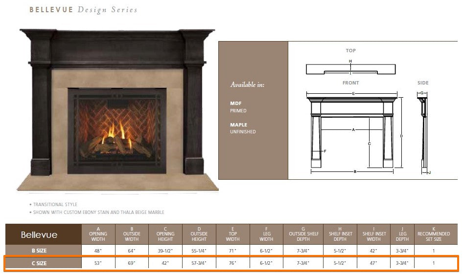 "Majestic Bellevue C 53"" Flush Wood Mantel Specs"