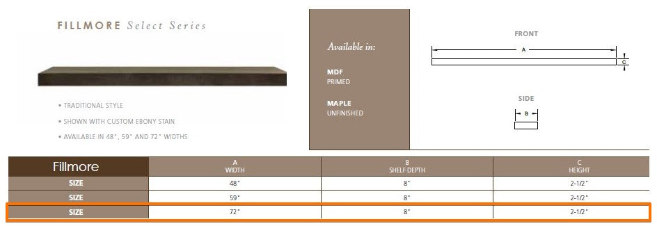 "Majestic Fillmore 72"" Wood Mantel Shelf Specs"