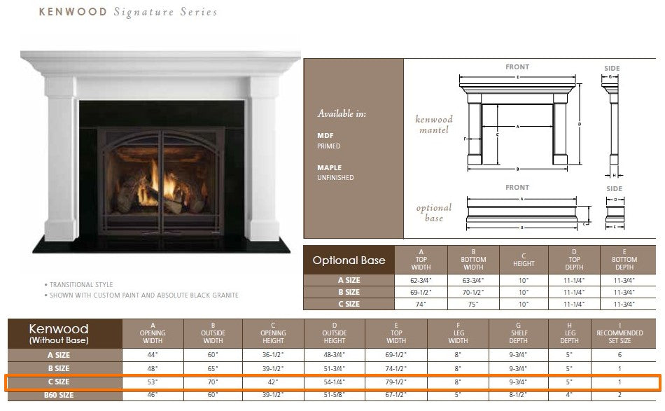 "Majestic Kenwood C 53"" Flush Wood Mantel Specs"
