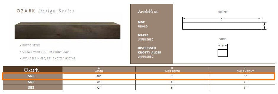 "Majestic Ozark 48"" Wood Mantel Shelf Specs"