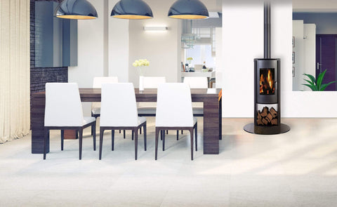 Nectre Curved Freestanding Wood-Burning Fireplace N65