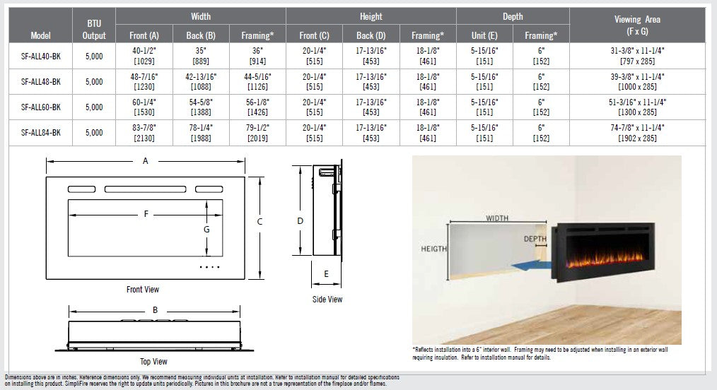 SimpliFire Allusion Series Electric Fireplace Specs