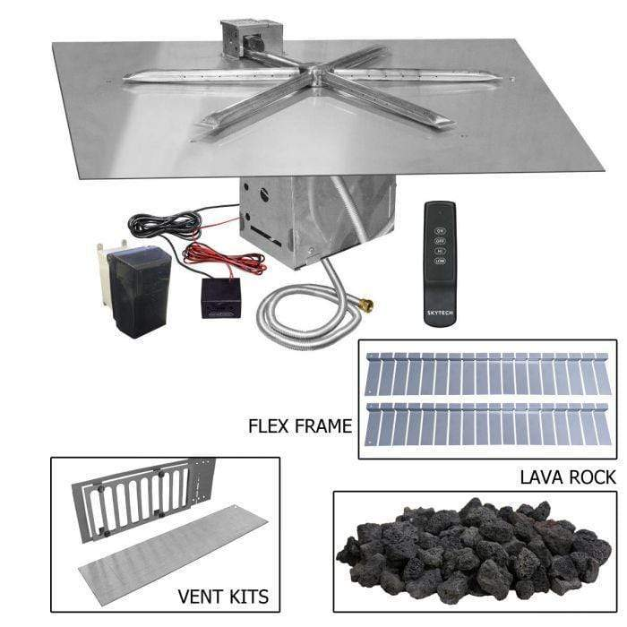 "Firegear 30"" Stainless Steel Square Flat Pan Paver Ready Gas Fire Pit Kit with TFS Ignition FPB-30SFTFSN-PK"