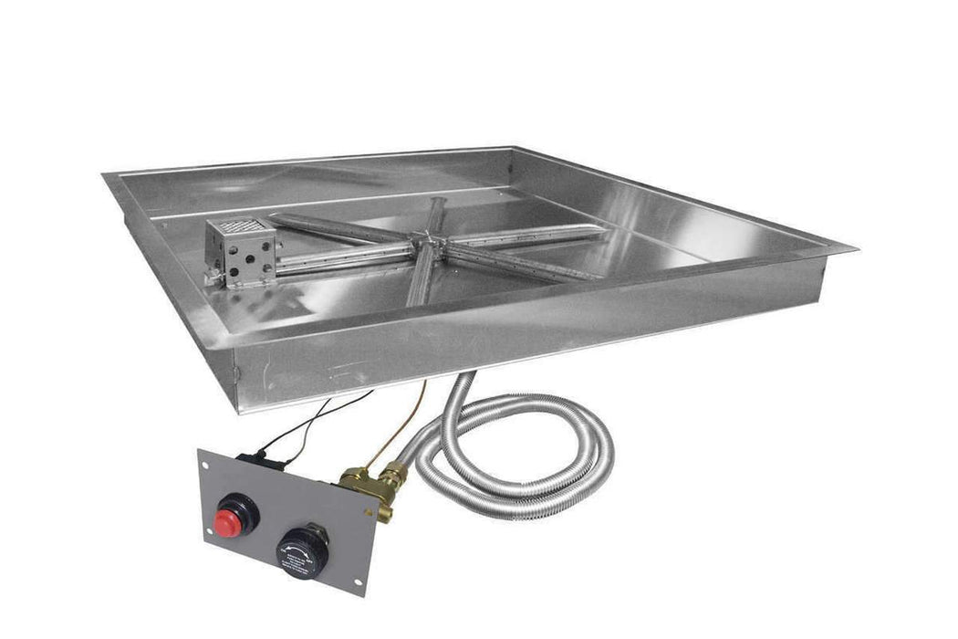 "Firegear 38"" Stainless Steel Square Pan Gas Fire Pit Insert FPB-38SBS"