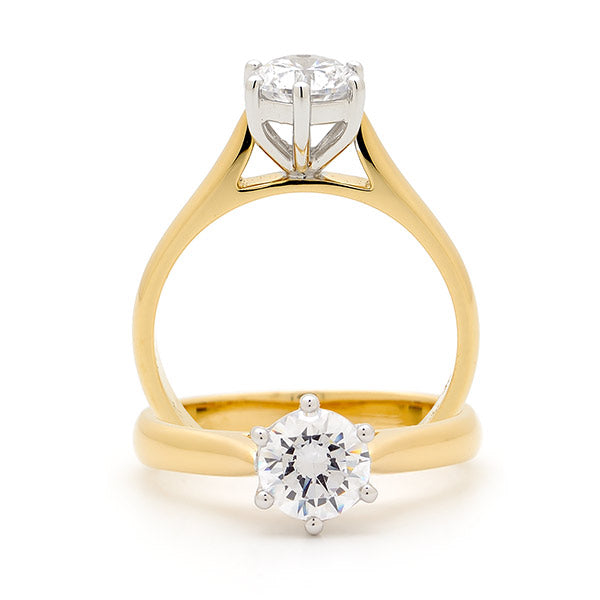 9k Yellow Gold / White Gold Diamond Solitaire Engagement Ring