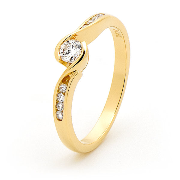 9K Yellow Gold Diamond Solitaire Engagement Ring with Channel Set Shoulders