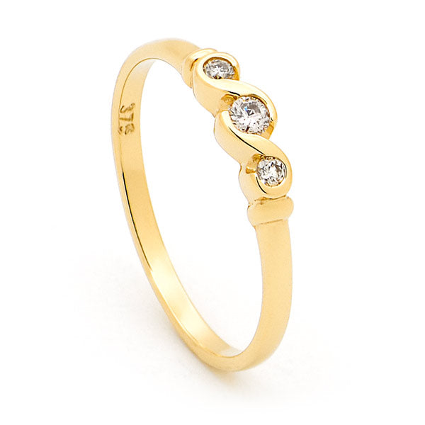 9k Semi Bezel Set Three Diamond Engagement Ring