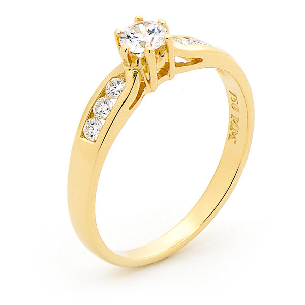 9k Yellow Gold Solitaire Diamond Engagement Ring with Channel Set Shoulders