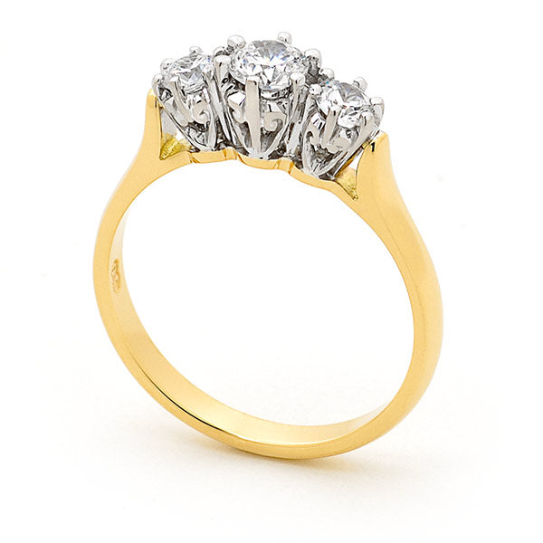 9k Yellow Gold Classic 3 Stone Diamond Ring