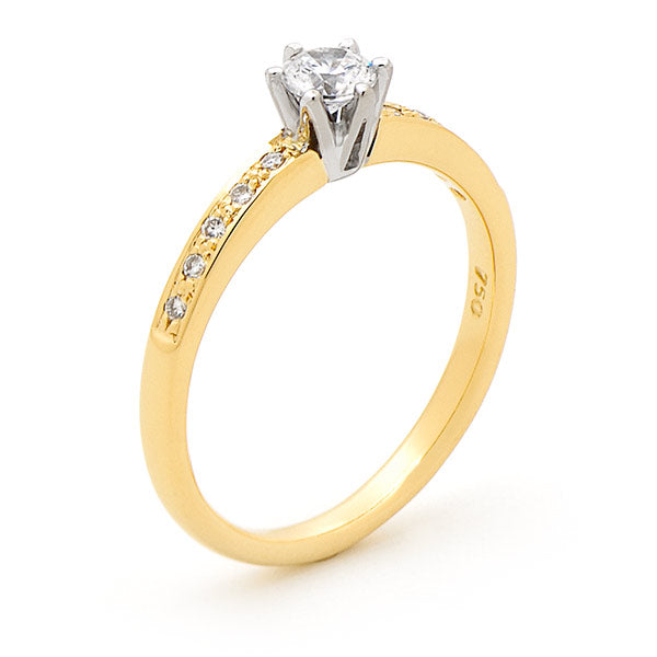 9K Yellow Gold Diamond Solitaire Engagement Ring with Shoulder Diamonds