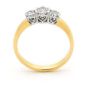9k Yellow Gold 3 Stone Diamond Ring