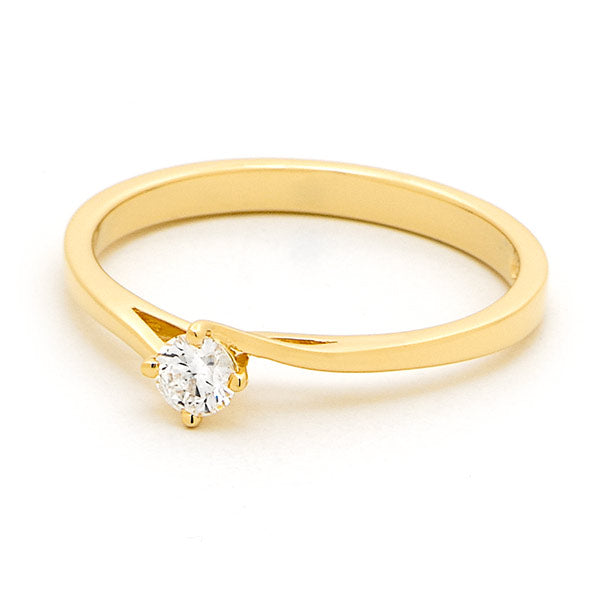 9k Yellow Gold Diamond Solitaire Swirl Shoulders Engagement Ring