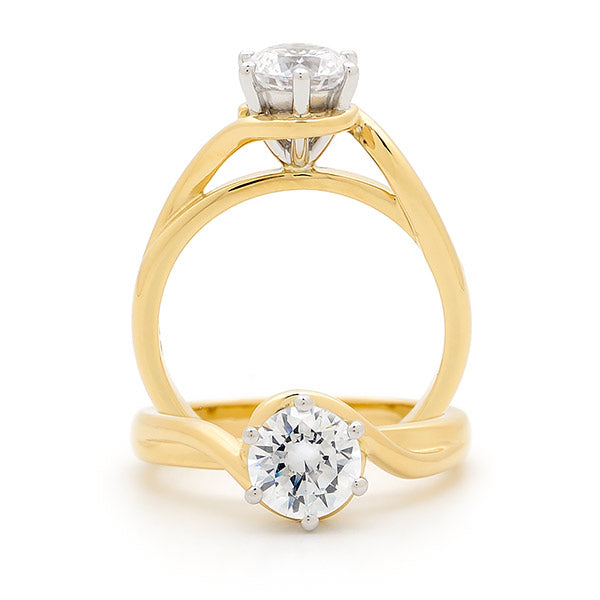 9k Yellow Gold Solitaire Diamond Engagement Ring with Swirl Shoulders