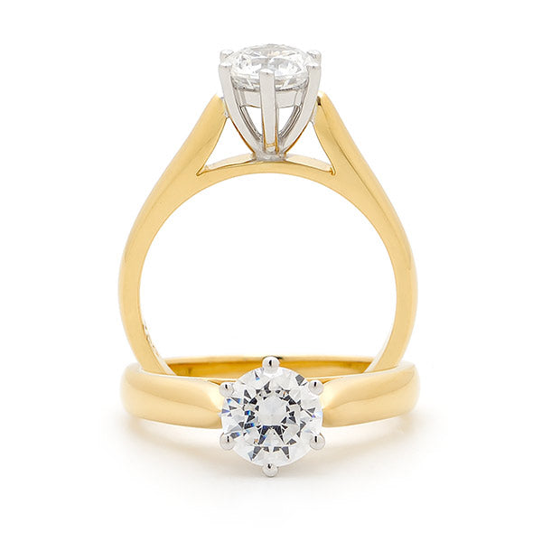 9K Yellow Gold Diamond Solitaire Engagement Ring