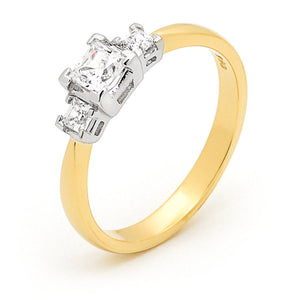 9k Yellow Gold 3 Princess Cut Trilogy Ring